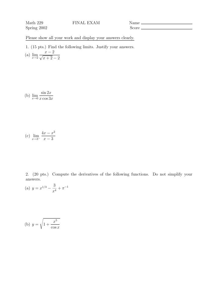 math 116 final exam answers Mth 116 final exam review answers greg sulisz 32 (a) (−∞,−2] [1,∞) (b) (−∞,−3) (0,3) 33 (-3, -5) and (1, 3) 34 (a) the graph rises to the left.