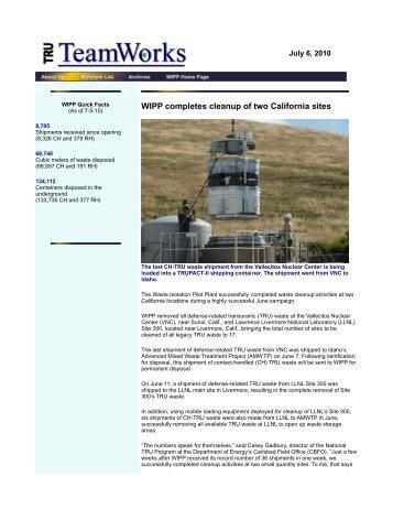 July 6 - Waste Isolation Pilot Plant - U.S. Department of Energy