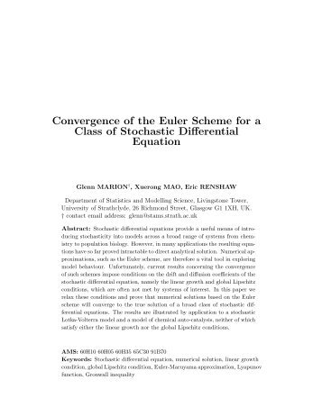 Convergence of the Euler Scheme for a Class of Stochastic ...