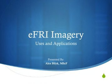 The eFRI Imagery - Uses and Applications