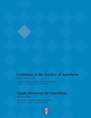 Guidelines to the Practice of Anesthesia Guide d'exercice de l ...