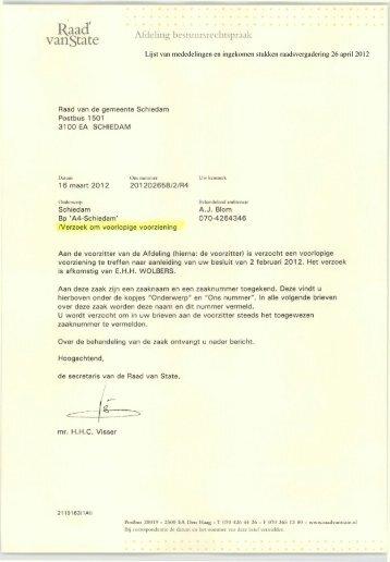 Verzoek om voorlopige voorziening E.H.H. Wolbers - Gemeente ...