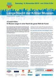 Pressemitteilung 6. Oktober 2010 (1.9 MB) - Lange Nacht der Kölner ...