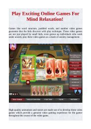 Play Exciting Online Games For Mind Relaxation!
