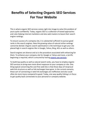 Benefits of Selecting Organic SEO Services For Your Website