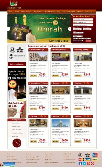 Umrah Packages for 2015 by Makkah Tour