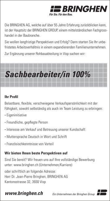 Jobangebot Sachbearbeiter/in