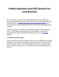 4 Most Important Local SEO Services For Local Business