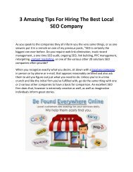 3 Amazing Tips For Hiring The Best Local SEO Company