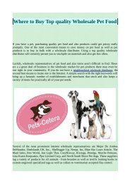 Where to Buy Top quality Wholesale Pet Food