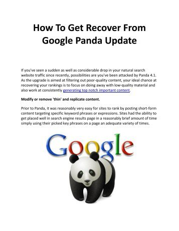 How To Get Recover From Google Panda Update