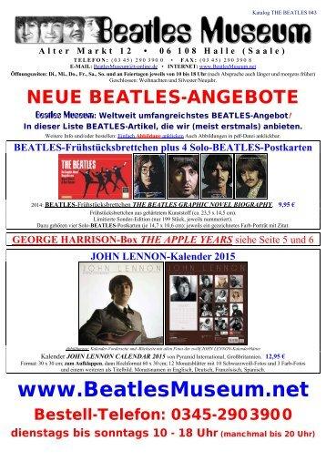 Beatles Museum - Katalog 43 mit Hyperlinks