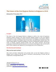 JSB Market Research : The Future of the Oral Hygiene Market in Belgium to 2018