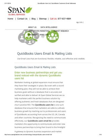 Buy Prepackaged QuickBooks Customer Lists from Span Global Services