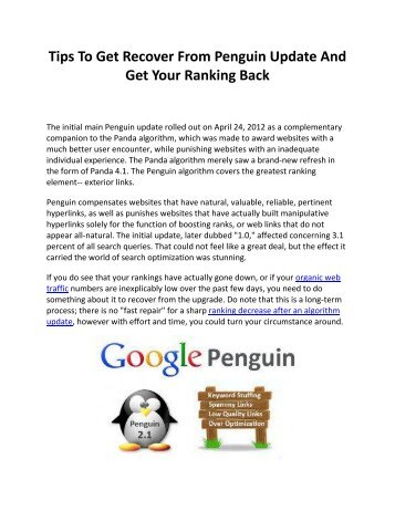 Tips To Get Recover From Penguin Update And Get Your Ranking Back