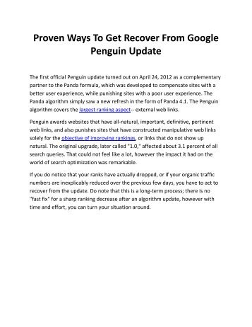 Proven Ways To Get Recover From Google Penguin Update