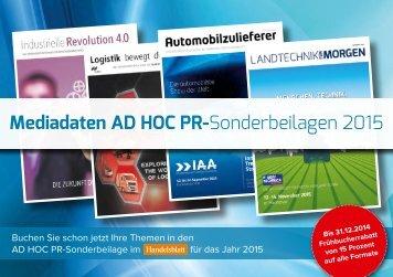Mediadaten AD HOC PR-Sonderbeilagen 2015