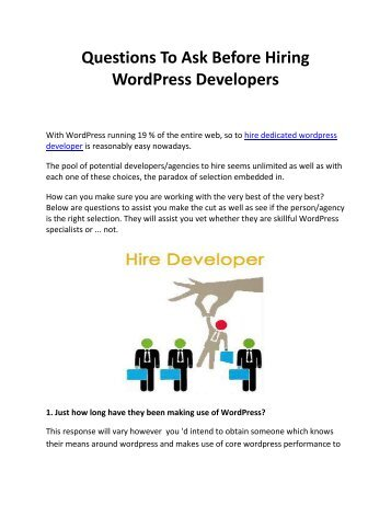 Questions To Ask Before Hiring WordPress Developers