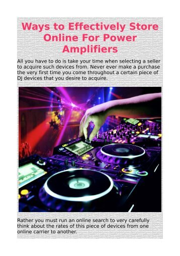 Ways to Effectively Store Online For Power Amplifiers