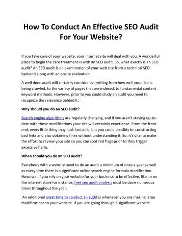 How To Conduct An Effective SEO Audit For Your Website?
