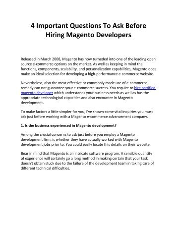 4 Important Questions To Ask Before Hiring Magento Developers