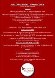 """Gala Dinner Buffet """"Silvester im Golf Resort Achental"""