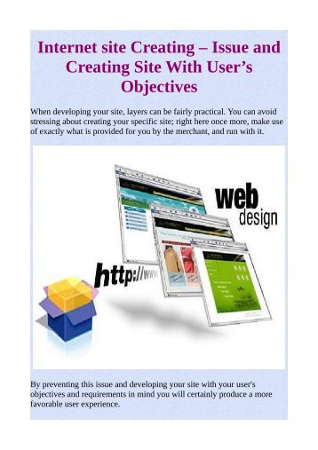 Internet site Creating – Issue and Creating Site With User's Objectives