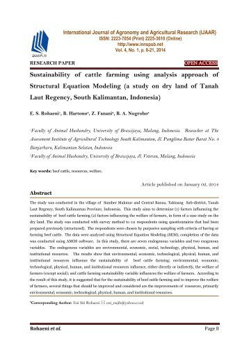 Sustainability of cattle farming using analysis approach of Structural Equation Modeling (a study on dry land of Tanah Laut Regency, South Kalimantan, Indonesia)