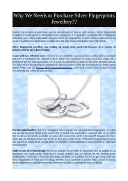 Why We Needs to Purchase Silver Fingerprints Jewellery??