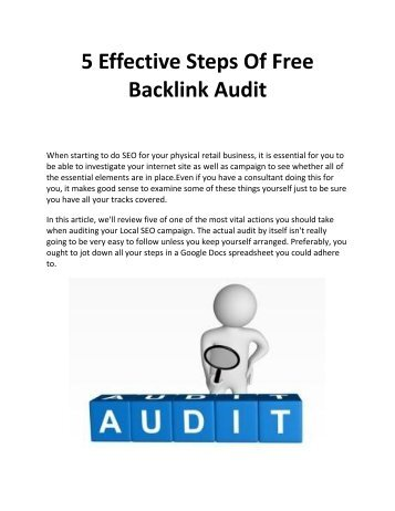 5 Effective Steps Of Free Backlink Audit