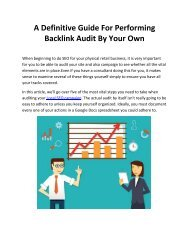 A Definitive Guide For Performing Backlink Audit By Your Own