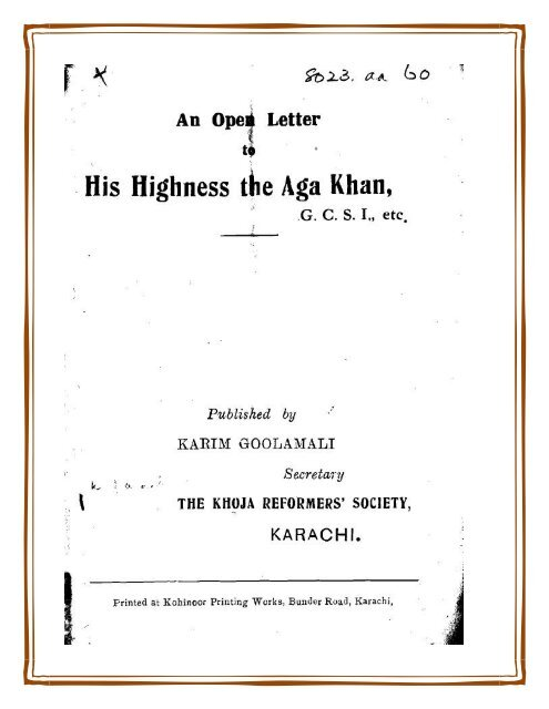 Open Letter to the Aga Khan