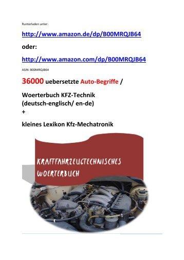 Kraftfahrzeugtechnisches Woerterbuch