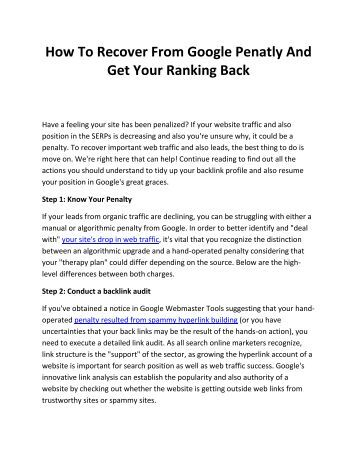 How To Recover From Google Penatly And Get Your Ranking Back