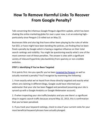 How To Remove Harmful Links To Recover From Google Penalty?