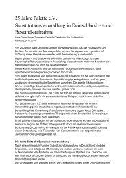 Hans Günter Meyer Thompson Substitutionsbehandlung in Deutschland eine Bestandsaufnahme