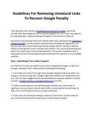 Guidelines For Removing Unnatural Links To Recover Google Penalty