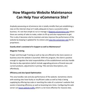 How Magento Website Maintenance Can Help Your eCommerce Site?