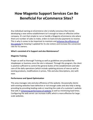 How Magento Support Services Can Be Beneficial For eCommerce Sites?