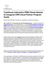 TreeHouse Interactive PRM Clients Named to Inaugural CRN Cloud Partner Program Guide