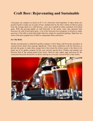 Craft Beer: Rejuvenating and Sustainable