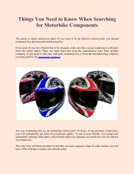 Things You Need to Know When Searching for Motorbike Components
