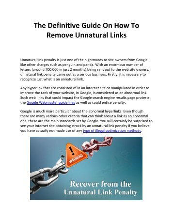 The Definitive Guide On How To Remove Unnatural Links