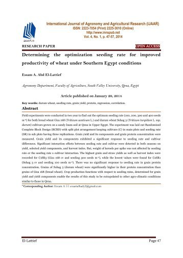 Determining the optimization seeding rate for improved productivity of wheat under Southern Egypt conditions