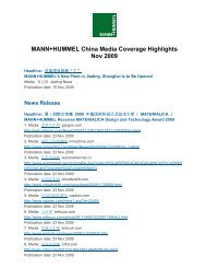 MANN+HUMMEL China Media Coverage Highlights Nov 2009