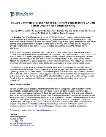 T5 Data Centers(TM) Signs New T5@LA Tenant Seeking Metro LA Data Center Location for Content Delivery