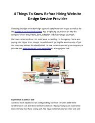 4 Things To Know Before Hiring Website Design Service Provider