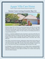 Senior Care Living Granite Bay CA
