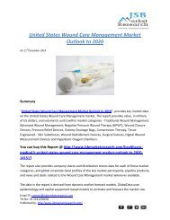 JSB Market Research: United States Wound Care Management Market Outlook to 2020