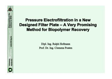 Pressure Electrofiltration in a New Designed Filter Plate A Very ...